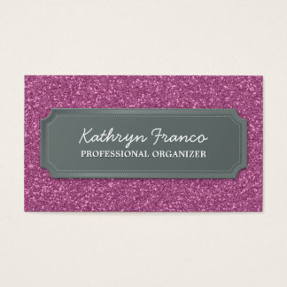 BUSINESS CARD modern bold sparkly pink glitter