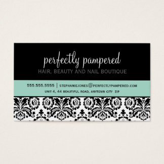 Chic nail technician business cards business card printing business card modern damask black mint green reheart Gallery