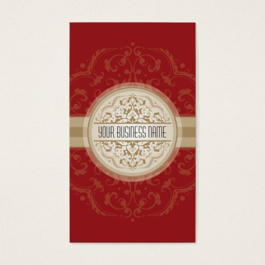 BUSINESS CARD modern oriental mandala red gold