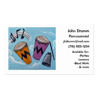 Business Card: Musician, Drummer, Percussionist Pack Of Standard Business Cards