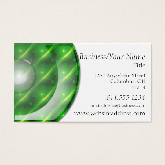 Business Card :: Neon Green Plastic Disc