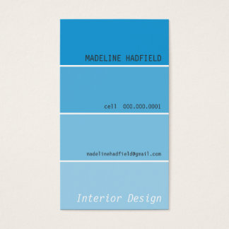 BUSINESS CARD paint chip swatch aqua blue