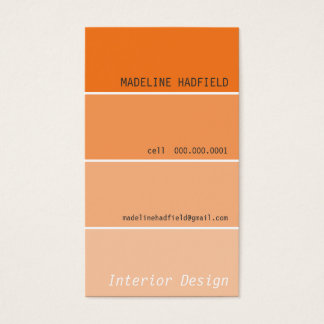 BUSINESS CARD paint chip swatch orange