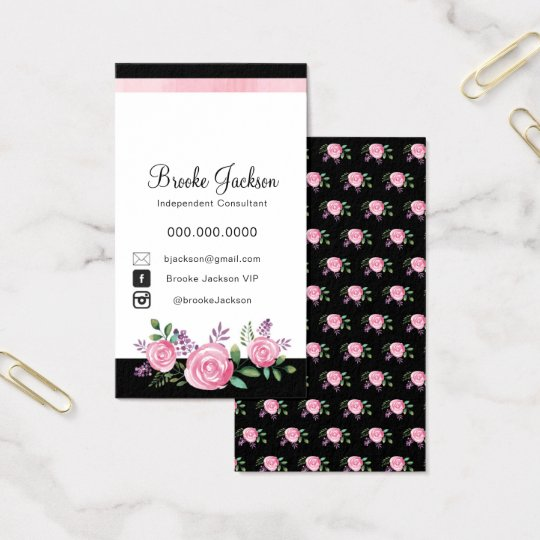 Business Card | Pink Flowers with Black background