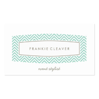 BUSINESS CARD plain chevron patterned panel mint