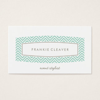 BUSINESS CARD plain chevron patterned panel mint