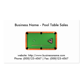Business Card: Pool Table Sales