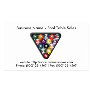 Business Card: Pool Table Sales Pack Of Standard Business Cards