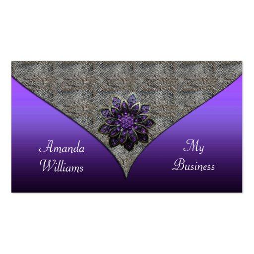 Business Card Purple floral Jewel  Animal Print