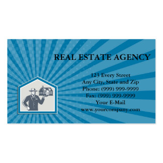 Business card Real Estate Salesman Sell House Retr