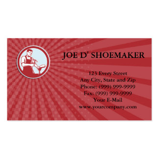 Business card Shoemaker With Hammer Shoe Circle Re