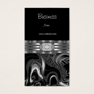 Business Card Silver Abstract Black Diamond Jewel