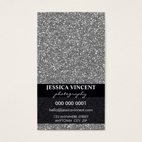BUSINESS CARD simple glitzy glitter silver