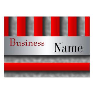 Business Card Stripe Red Metal look Silver