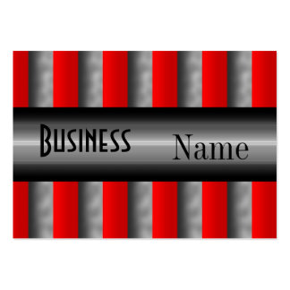 Business Card Stripe Red Silver
