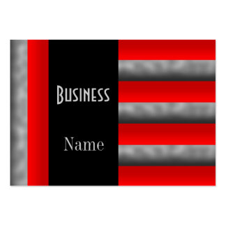 Business Card Stripe Red Silver Black