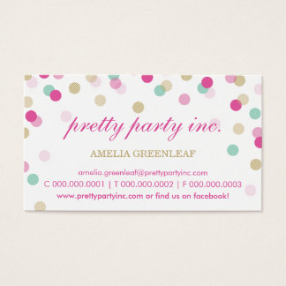 BUSINESS CARD :: stylish confetti pink + gold
