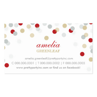 BUSINESS CARD :: stylish confetti red silver gold