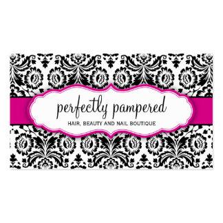BUSINESS CARD stylish damask black fuschia pink