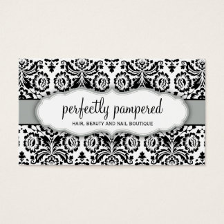 BUSINESS CARD stylish damask black silver grey