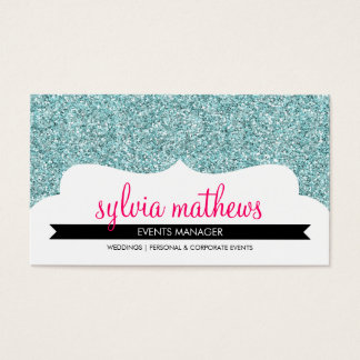 BUSINESS CARD stylish glitter sparkle pale blue