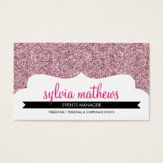BUSINESS CARD stylish glitter sparkle pale pink
