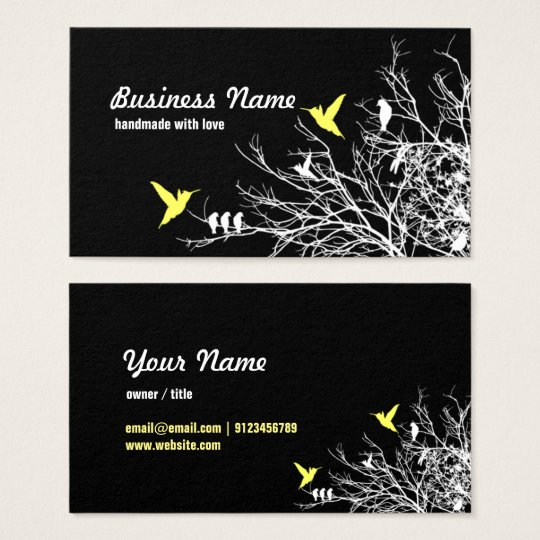 business card - tree branches and two birds