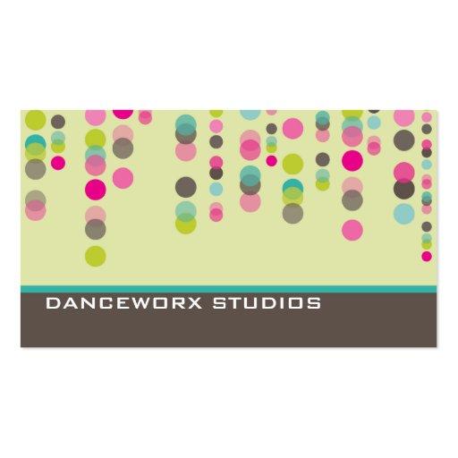 BUSINESS CARD trendy disco spots green pink aqua