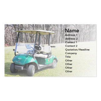 business card with a photo of a golf cart