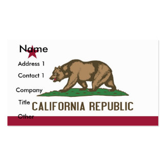 Business Card with Flag of California U S A