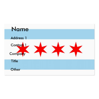 Business Card with Flag of Chicago U S A