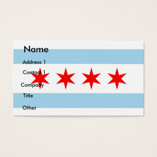 Business Card with Flag of Chicago, U.S.A.