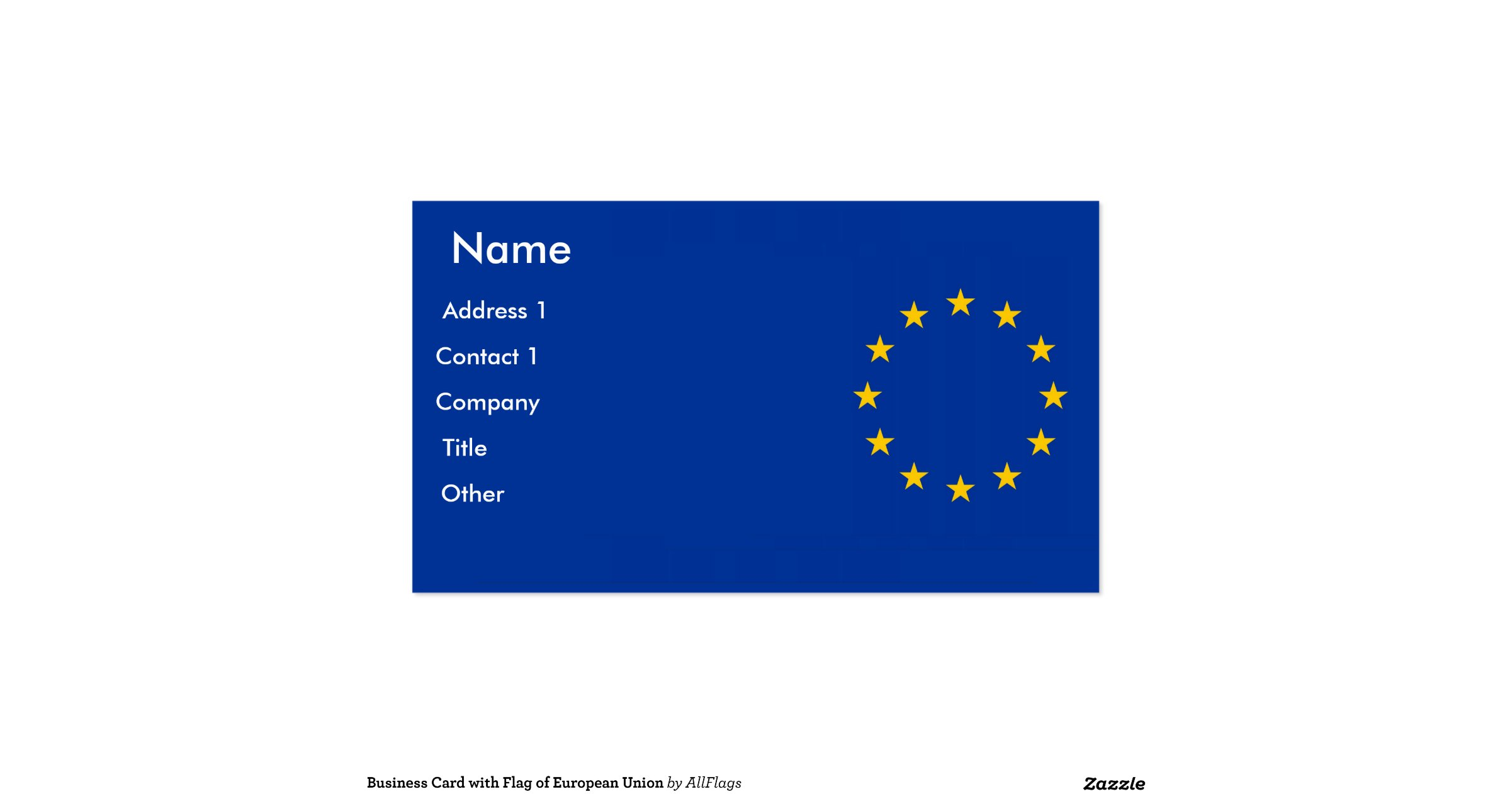 Business card with flag of european union zazzle for Union made business cards