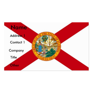 Business Card with Flag of Florida U S A