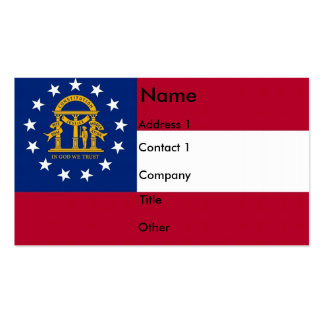 Business Card with Flag of Georgia U S A
