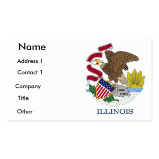 Business Card with Flag of Illinois, U.S.A.
