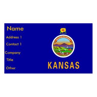 Business Card with Flag of Kansas U S A