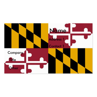 Business Card with Flag of Maryland U S A