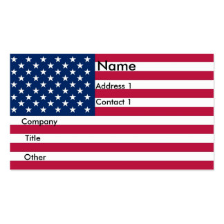 Business Card with Flag of U S A