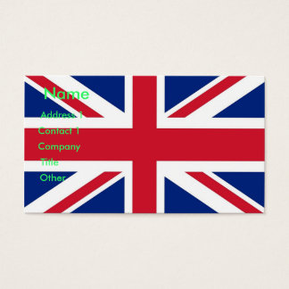 Business Card with Flag of United Kingdom