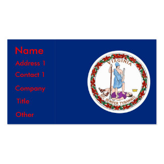 Business Card with Flag of Virginia U S A