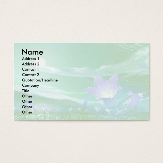 Business Card with Green and Lavender