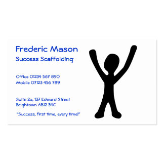 """Business Card with Happy """"Success"""" Stick Figure"""