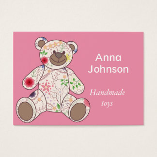 Business card with vintage bear toy