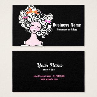 business card - woman, fashion, girl, hair bow