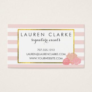 Business Cards   Pink Stripe & Blush Peony