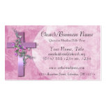 Business Cards: Purple Cross with Pink Flowers Pack Of Standard Business Cards