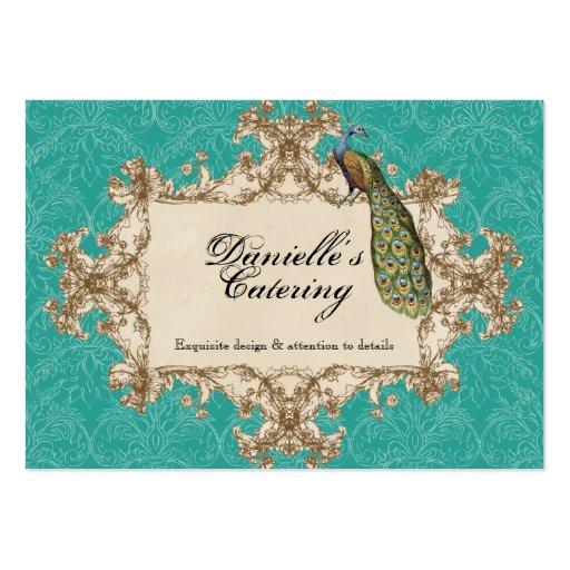 Business Cards - Teal Vintage Peacock & Etchings