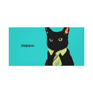 Business Cat Artwork Gallery Wrapped Canvas