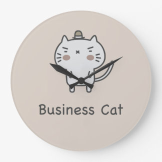 Business Cat Large Clock